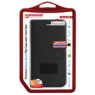 Promate 'Tava-i6P' Book-Style Flip Case w/Card Slots & Screen Protector for iPhone 6P/6SP - Black