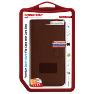 Promate 'Tava-i6P' Book-Style Flip Case w/Card Slots & Screen Protector for iPhone 6P/6SP - Brown