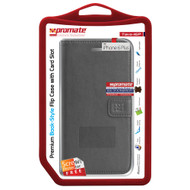 Promate 'Tava-i6P' Book-Style Flip Case w/Card Slots & Screen Protector for iPhone 6P/6SP - Grey