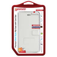 Promate 'Tava-i6P' Book-Style Flip Case w/Card Slots & Screen Protector for iPhone 6P/6SP - White