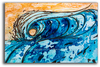 Original Yellow and Blue Abstract Wave Painting by Tamara Kapan