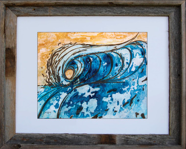 8 x 10 inch surf art print titled Dove Tail by Tamara Kapan in an 11 x 14 inch barn wood frame