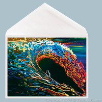 Eclipse Wave Art Greeting Card by Tamara Kapan