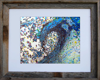 11 x 14 inch abstract wave art print by Tamara Kapan titled Finding Peace in an 11 x 14 inch barn wood frame