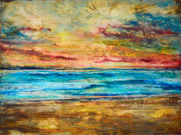 Lithium Sunset Abstract Beach Painting by Tamara  - SOLD