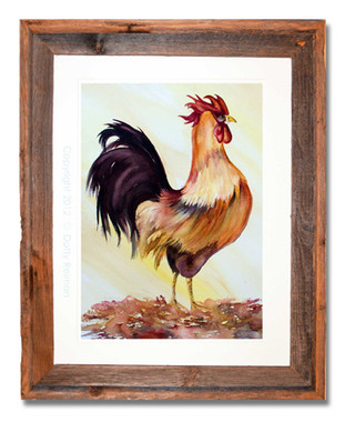 12 x 16 inch watercolor rooster print by Dotty Reiman titled Lucky Rooster in a 16 x 20 inch weathered grey wood frame