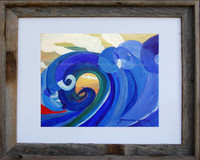 "8 x 10 inch wave print titled ""Mosaic Wave"" by Tamara Kapan in an 11 x 14 barn wood frame"