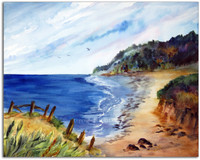Watercolor Painting of the Oregon Coast With Birds by Dotty Reiman