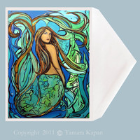 Mermaid Greeting Card by Tamara Kapan titled Pangaea.  Greeting card measures 5 x 7 inches.