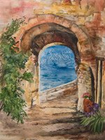 Pathway to the Sea Original Watercolor Artwork by Dotty Reiman