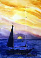 Watercolor sunset sailboat painting by Dotty Reiman