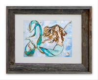 8 x 10 inch mermaid art print titled Sweet Dreams by Tamara Kapan in a 11 x 14 inch barn wood frame