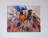 8 x 10 inch fine art print of western horse wall art titled Tres Amigos by Dotty Reiman matted to fit an 11 x 14 inch frame