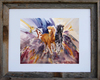 8 x 10 inch abstract horse print titled Tres Amigos by Dotty Reiman in an 11 x 14 inch barn wood frame