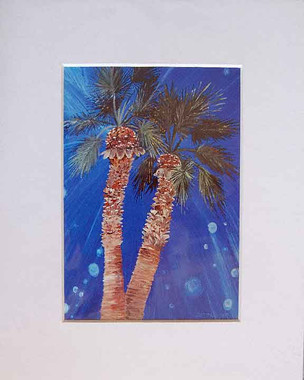 5 x 7 inch Twin Palm print by Tamara Kapan matted to fit an 8 x 10 inch frame
