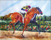 Horse Racing Print titled By A Nose by Dotty Reiman
