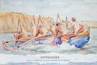 Watercolor outrigger painting by Dotty Reiman