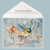 Mermaid Greeting Card by Dotty Reiman titled Daydreamer