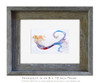 5 x 7 inch matted Tranquility mermaid fine art print in an 8 x 10 inch weathered grey wood frame by Tamara Kapan