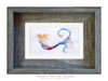 4 x 7 inch matted Tranquility mermaid fine art print in a 5 x 7 inch weathered grey wood frame by Tamara Kapan