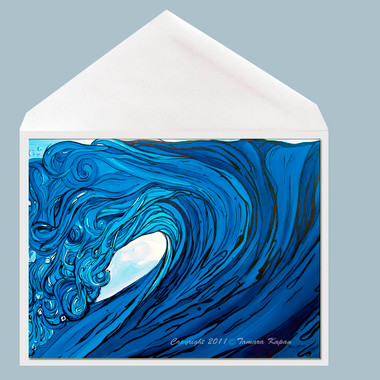 Frolic wave art greeting card by Tamara Kapan