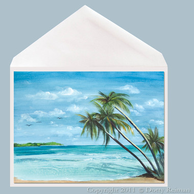 Tradewinds tropical art greeting card by Dotty Reiman