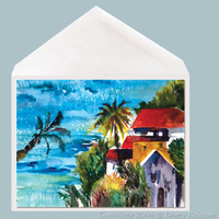 The Villa tropical greeting card by Dotty Reiman.  Greeting card measures 5 x 7 inches.