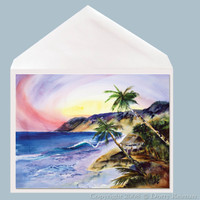 Tropical Hideaway greeting card by Dotty Reiman.   Greeting Card measures 5 x 7 inches.