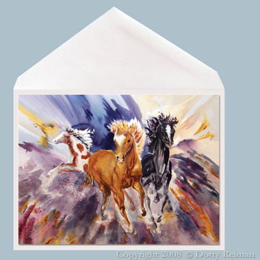 Tres Amigos Horse Greeting Card by Dotty Reiman.  Greeting card measures 5 x 7 inches.