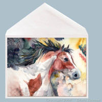 Pinto Spirit Horse Greeting Card by Dotty Reiman.  Greeting card measures 5 x 7 inches.