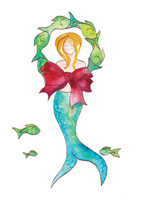 Front of Merry Mermaid Greeting Card - available as a single card for $4.75