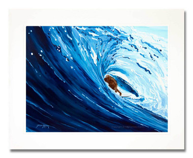 12 x 16 inch surfer print titled Blue Barrel matted to fit an 16 x 20 inch frame