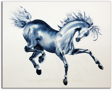 Blue Prancing Horse Watercolor by Dotty Reiman