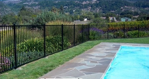 Aluminum Pool Fence 2 Rail Black 4 Ft High X 6ft Long From Stock