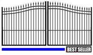 Palace Guard STEEL Estate Driveway Double Gate - Finial Top Black