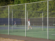 Tennis Court Fence 10 ft high TCGV20 System per FT. Galvanized Posts and Black or Green PVC Coated Tennis Court Chain link