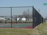 "10ft tall Tennis Court Chain Link Fence System, Includes Line posts 2"" x 12ft, 1-5/8"" Top Rail, 1-3/4"" x 9ga x 10ft tall Tennis Mesh and Hardware. Corner, End Posts and Gates not Included. Price is per ft."