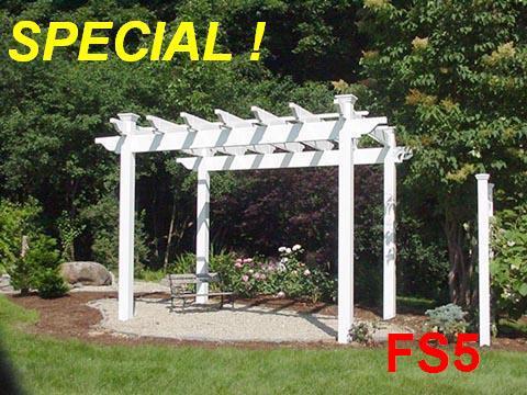 Vinyl Pergola Kit Free Standing White 8 X 8 Ft Fence