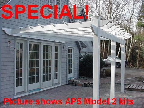 Image 1 - Vinyl Pergola Kit Attached, White 8 X 8 Ft - Fence-Material