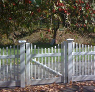 Vinyl Victorian Picket Fence, Scalloped Gate. Buy 2 for Double Drive Gates.
