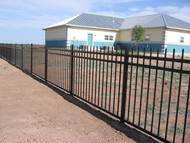 Wrought Iron Steel Fence 3 RAIL Panels PSF-4000, 4, 5 & 6ft High x 8ft long Spear Top, Flush Bottom - unassembled kits -Posts not included
