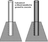 Bollards - Galvanized Steel Schedule 40 Pipe