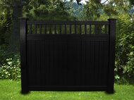 BLACK VINYL PRIVACY PICKET TOP FENCE 6 FT X 6 FT. Posts purchased seprately