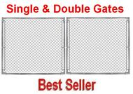 """8 ft Galvanized Commercial 1-5/8"""" frame Gate component Kit with Hinges & Latch, Self Assembly. Gate Posts are not included, purchased separately."""