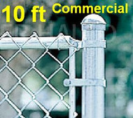"10ft tall Galvanized Commercial Fence Kit, Plain or Barb Wire Top. Includes Line Posts (2"" OD x 12 ft,  spaced 10ft)) with hardware, Top Rail (1-5/8""), All Mesh (2"" x 9 gauge). Corner, End, Gate Posts and gates not included. Price is per ft."