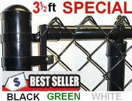"3-1/2 Ft tall Vinyl Coated System Complete includes 2""x 9 Ga. Mesh, 1-3/8"" Top Rail, 1-5/8"" Line Posts and Hardware, Price shown is per linear foot. Corner, End, Gate Posts and gates not included."