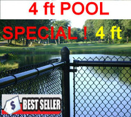 "4 Feet High Black Chain Link Pool Safety Fence , 1-1/4"" 11 Ga Mesh System Complete, includes Line Posts (1-5/8"") with hardware every 10 feet, All Top Rail (1-3/8"") . Price is per linear ft. . Corner, End, Gate Posts and gates not included."