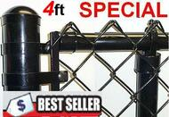 "4 Ft Black & Green Coated Fence Kit Complete includes 2""x 9 Ga. Mesh, 1-3/8"" Top Rail, 1-5/8"" Line Posts  (1 per 10ft spacing) and Hardware, ENTER TOTAL LINEAR FEET IN QTY. Price / ft. Corner, End, Gate Posts and gates not included."