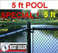 "5 ft Black Chain Link Pool Safety Fence Complete includes 1-1/4""x11ga. Mesh, 1-3/8"" Top Rail, 1-5/8"" Line Posts (every 10 ft) and Hardware, Price is per linear foot. Corner, End, Gate Posts and gates not included."