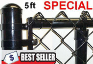 "5 Ft Black & Green Coated Fence Kit includes 2""x 9 Ga. Mesh, 1-3/8"" Top Rail, 1-5/8""  x 7ft Line Posts, 10ft spacing) and Hardware, ENTER TOTAL LINEAR FEET IN QTY. Price is per ft. Corner, End, Gate Posts and gates not included."